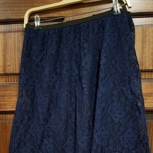 Navy Lace Knit Skirt